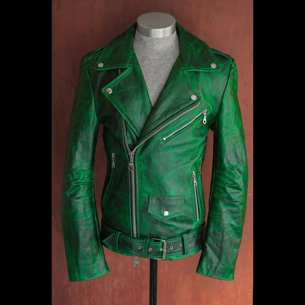 Men's Emerald Multi Tone .9mm Heavy Calfskin Pull Up Double Rider Jacket