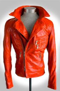 """Red Rebel"" Hand Scar Stitched ""Made to Measure"" Heavy Washed Lambskin Double Rider Leather Jacket"