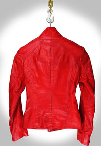 Full Back View of Red Leather Biker Jacket Hanging on Industrial Hook