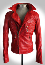 Front View of Red Rebel Leather Biker Jacket