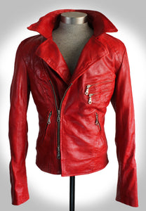 Front Facing View of Red Leather Biker Jacket Partially Zipped Up