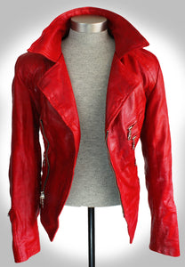 Full Frontal View of Red Leather Biker Jacket Fully Unzipped and Open