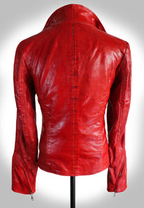 Full Back View of Red Leather Biker Jacket With Collar Popped Up