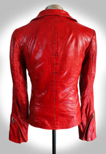 Full Back Display of Red Leather Biker Jacket With Collar Down and Cuffs Unzipped