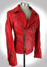 Side Angled View of Red Leather Biker Jacket Zipped Up