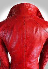 Close Up View of Scar Stitching on Back of Red Leather Biker Jacket