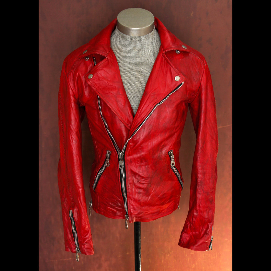 Blood Red Calfskin Heavy Washed, Treated, and Waxed Double Rider Biker Jacket