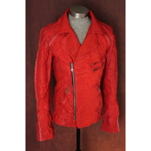 Red Rebel Hand Scar Stitched Heavy Washed Lambskin Double Rider Leather Jacket