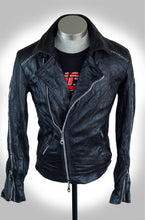 Men's Black Scar Stitch Heavy Calfskin Washed, Treated, and Waxed Double Rider Biker Jacket