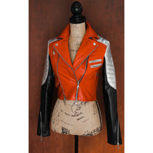 Black, Red, and Silver Heavy Calfskin Ladies Quilted Double Rider Biker Jacket