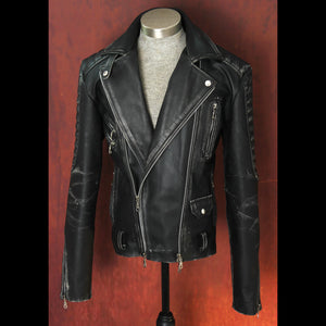 Men's Heavy 8mm Calfskin Distressed Black Double Side Zip Biker Jacket