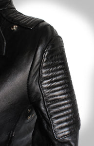Close Up View of Leather Quilting on Shoulder and Upper Arm of Ladies Black Biker Jacket