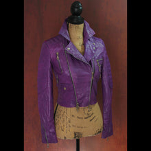 Multi Tone Heavy Washed Purple Lambskin Ladies Quilted Double Rider Biker Jacket