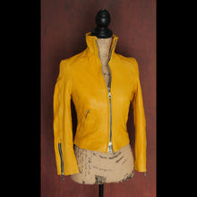 Multi Tone Heavy Washed Yellow Lambskin Ladies Scar Stitched High Neck Leather Jacket
