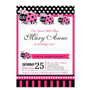 Pink Lady Bug birthday party invitations