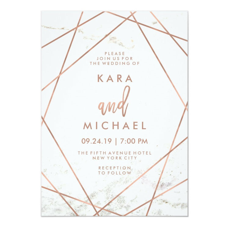 Marble and Faux Rose Gold Geometric Wedding Invitation
