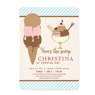 Neapolitan ice cream birthday invitations