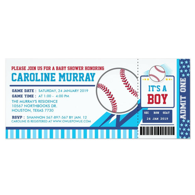 Baseball Ticket Pass baby shower ticket invitation