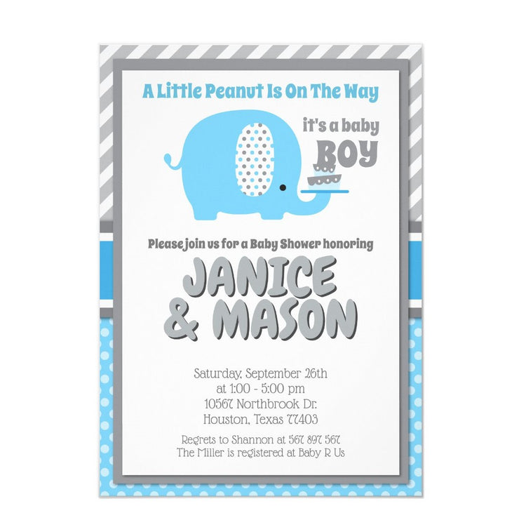 Modern Blue Grey Baby Elephant Couples baby shower invitation
