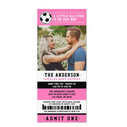 Pink Black Soccer Ticket Couples baby shower ticket invitation