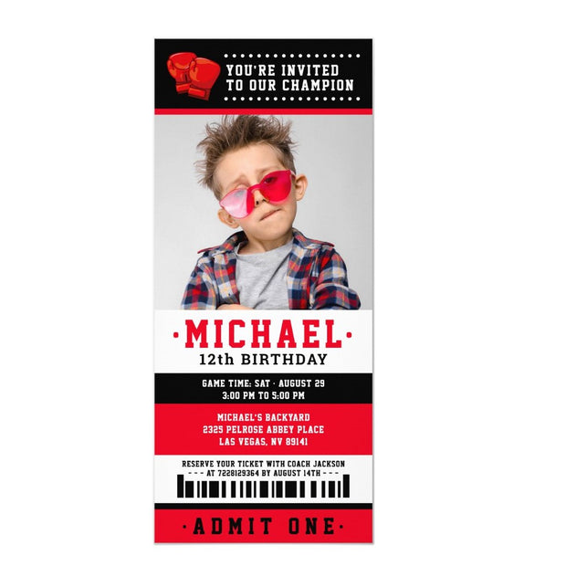 Red black Boxing ticket birthday invitations