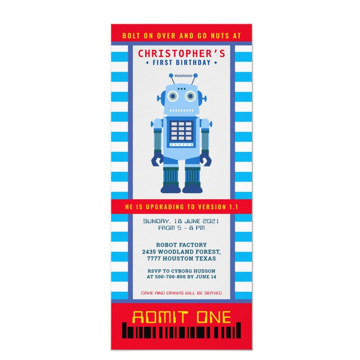 Robot party ticket birthday invitations