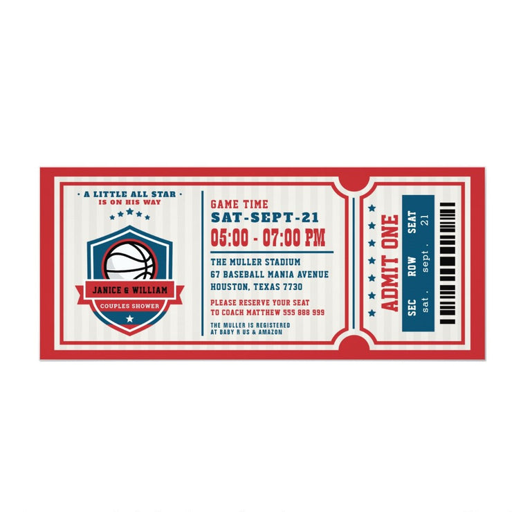 Red Vintage Basketball Ticket Couples baby shower ticket invitation