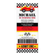 Race Car ticket birthday invitations