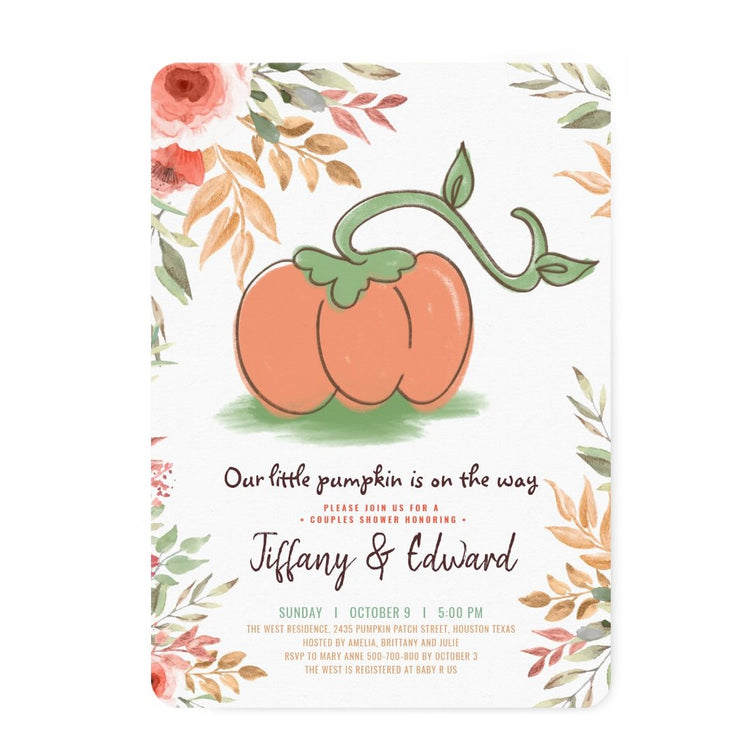 Fall Pumpkin couples baby shower invitation