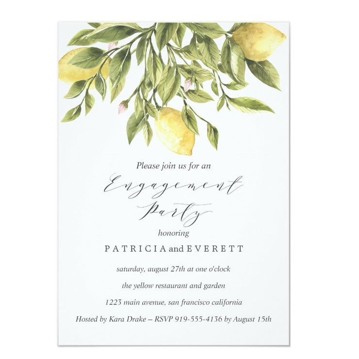 Green  Lemons and Foliage Wedding Engagement Party Invitation