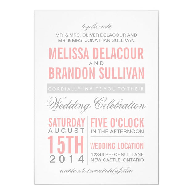 Pink and Gray Modern Typography Wedding Invitation