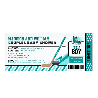 Ice hockey Ticket Pass baby shower ticket invitation