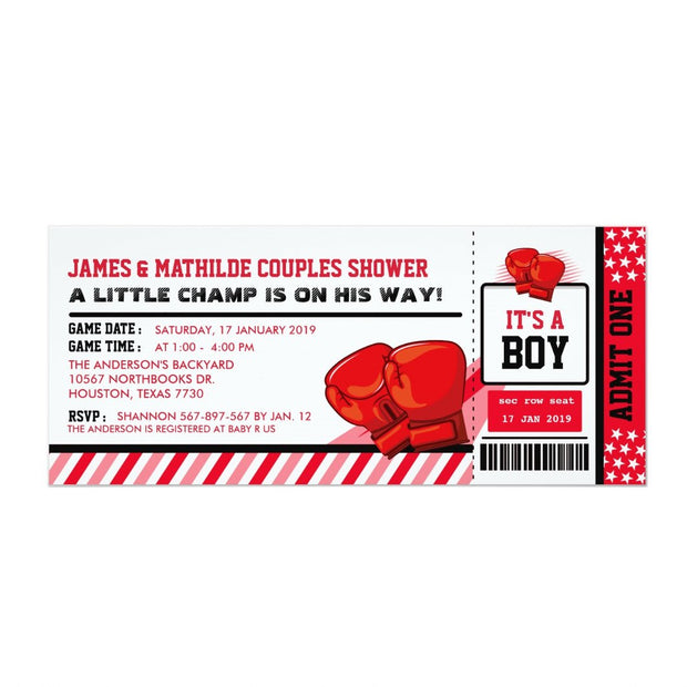 Editable Colour Boxing Ticket Couples baby shower ticket invitation