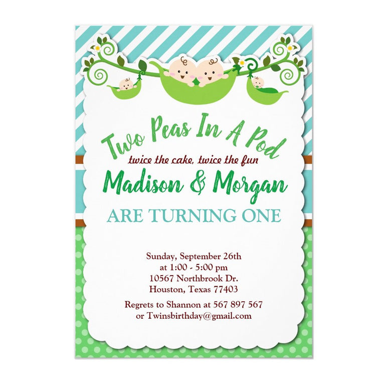 Two Peas In A Pod Twins Birthday Invitation