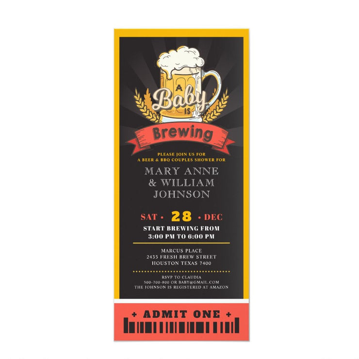A baby is brewing beer ticket couples baby shower ticket invitation