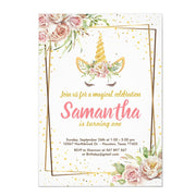 Gold Glitter | Floral Unicorn Horn First birthday invitations