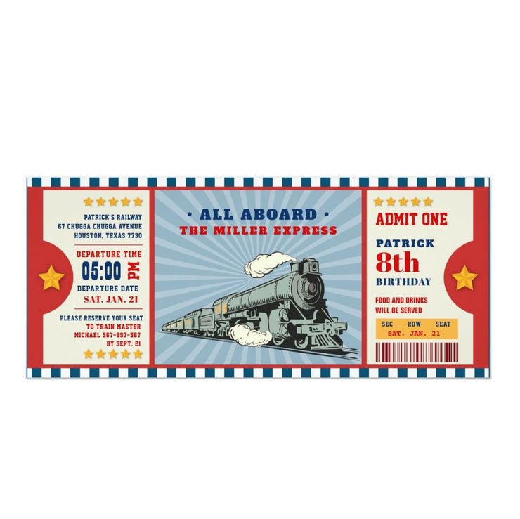 Train ticket birthday invitations