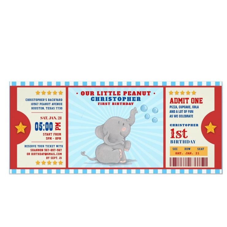 Little peanut elephant ticket birthday invitations
