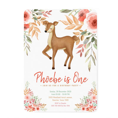 Woodland deer first birthday invitations