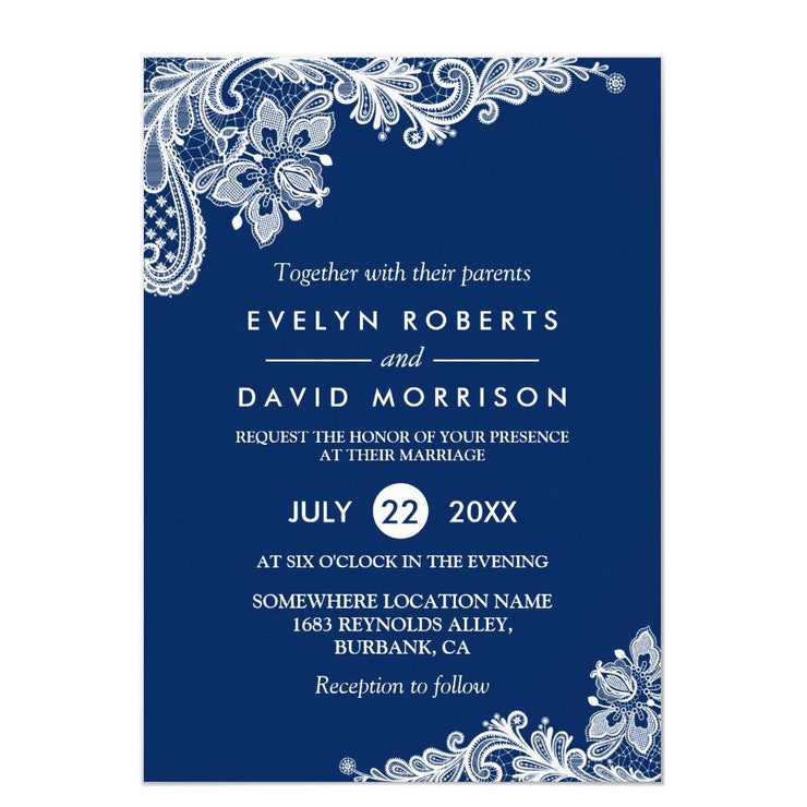 Elegant Lace Navy Blue White Formal Wedding Invitation