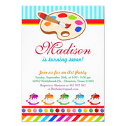 Colourful Art Party birthday party invitations
