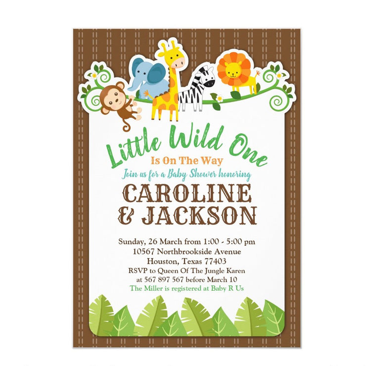 Jungle Zoo Animal Safari Joint Couples baby shower invitation