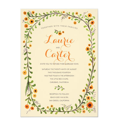 Summer Yellow Flowering Vine Floral Wedding Invitation