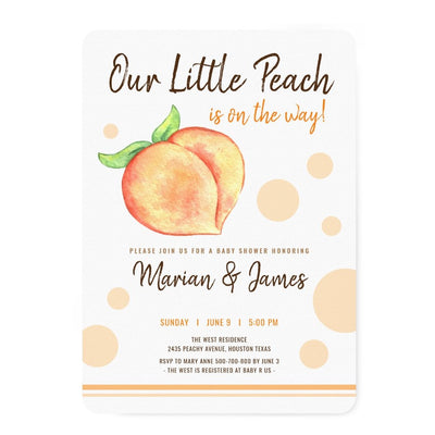 Sweet Peach watercolour couples baby shower invitation