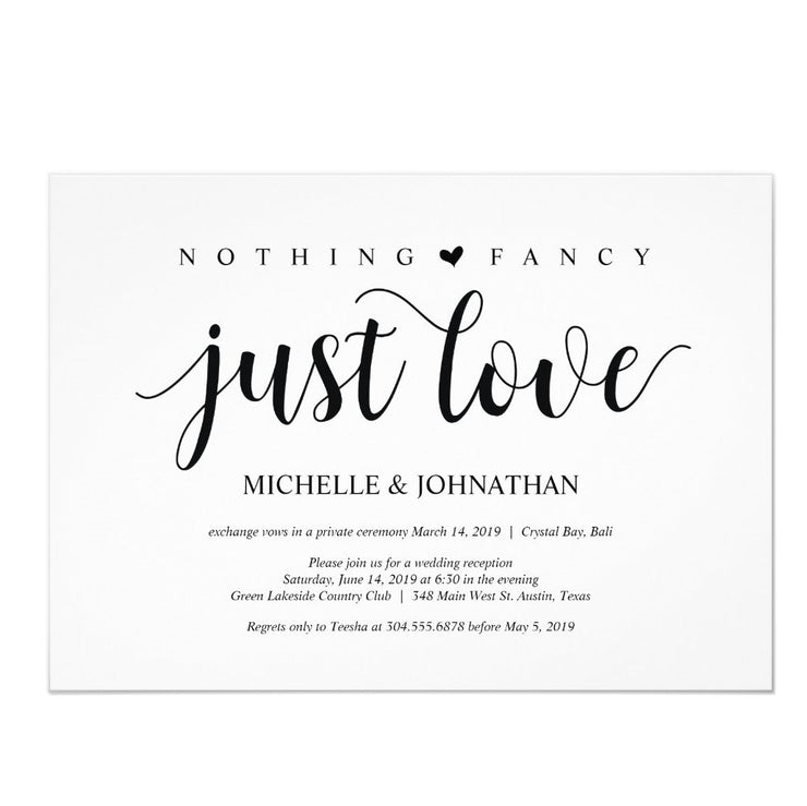 Rustic Elopement Reception Invitation wedding invitations