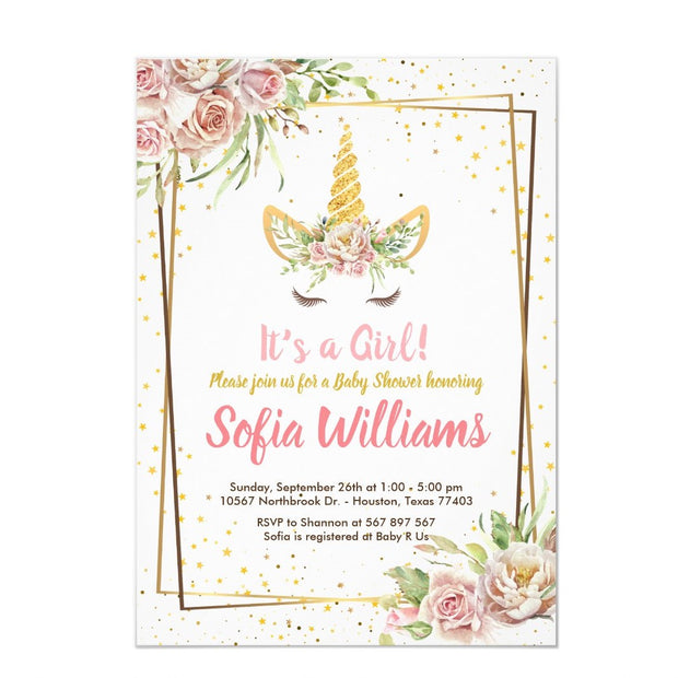 Gold Glitter |Floral Unicorn Horn Girl baby shower invitation
