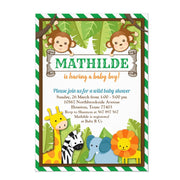 Jungle Zoo Animal Safari baby shower invitation