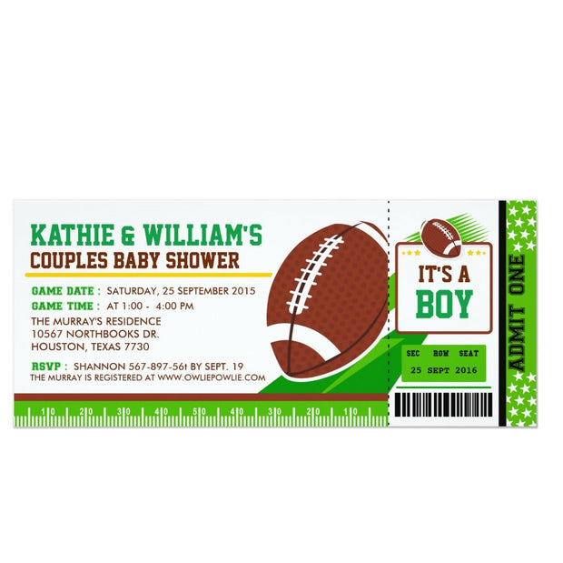 Rugby Football Couples baby shower ticket invitation
