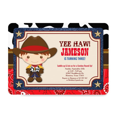 Brown Cowboy Western Old West birthday invitations