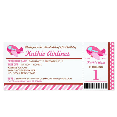 Pink Airplane ticket birthday invitations